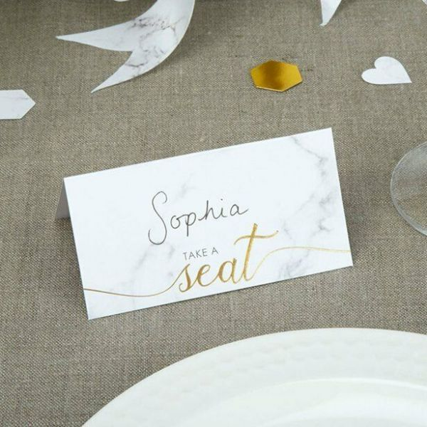 Scripted Marble Wedding Place Cards (25pk)